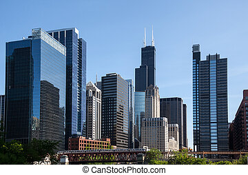 Chicago skyline from the river - Skyline of Chicago from the...