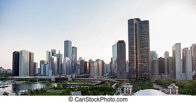 Sunset over Chicago from Navy Pier