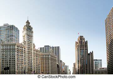 Chicago Tribune Tower and Wrigley building - CHICAGO - MAY...