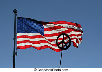 Stars, Stripes, and Peace - American flag, blue sky and...