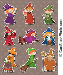 cartoon Wizard and Witch stickers