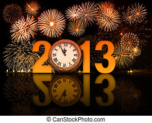 2013 year with fireworks and clock displaying 5 minutes...
