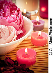 Aromatherapy flowers and candles - A bowl full of beautiful...