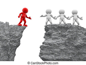Helping hand - 3d people - men, person and a rock . Helping...