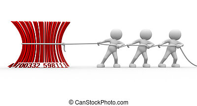 Barcode - 3d people - men , person with a bar- code. Barcode...