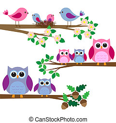 Owls and birds sitting on branches Vector set