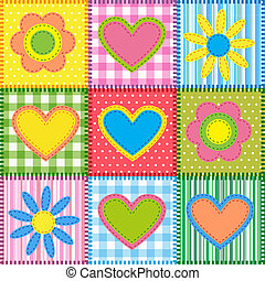Patchwork with hearts and flowers Vector seamless background...