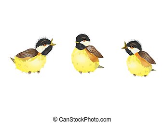 Three Chickadee Birds - Illustration of three chickadee...