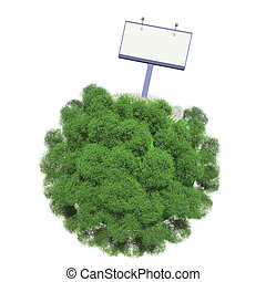 Advertising stand on a small green planet. Isolated on white background