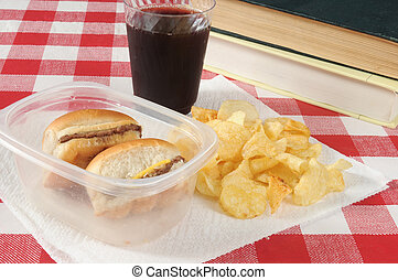 School lunch - Mini cheeseburgers in a plastic container...
