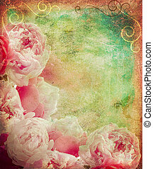 Vintage peonies frame - Vintage peonies on canvas painted...