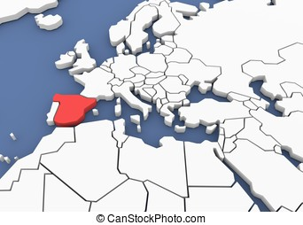 Three-dimensional map of Spain isolated. 3d