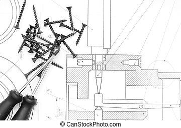 Screw-drivers and screws on the drawing.