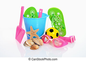 beach party - children's beach toys isolated on white