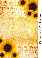 Sunflower frame - Vintage, distressed sunflower frame with...