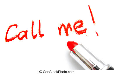 "Lipstick and inscription ""Call me"". On a white background."