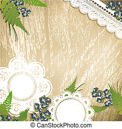 Vintage background with flowers and lace - Vintage wooden...