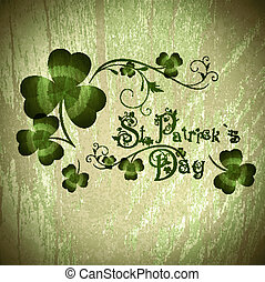 St.Patrick day greeting with shamrocks - Vintage wooden...