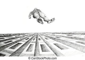 Flying - Photo of a metaphysics drawing done in ink pen on...
