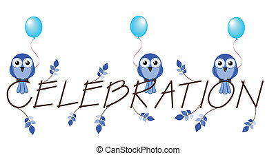 celebration - Blue celebration twig text isolated on white...