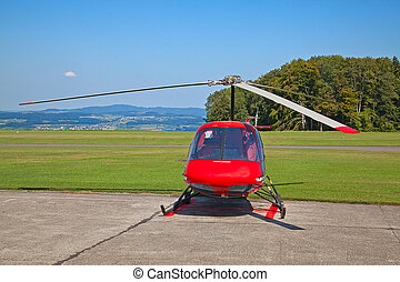 Helicopter on the small airfield