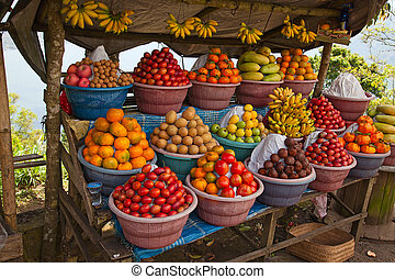 fruit market - Open air fruit market in the indonesian...