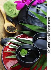 asian tea set and spa settings