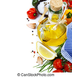 Olive oil and ingredients - Olive oil, pepper, salt and...