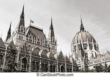 budapest parliament (monochrome) - evening shot of...
