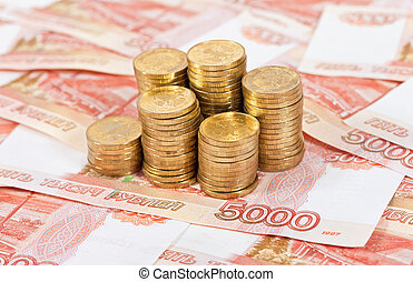 Russian rubles banknotes and coins