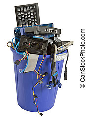 electronic scrap in blue trash can - electronic scrap in...