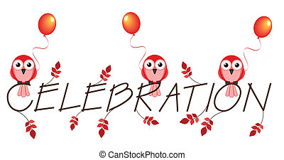 celebration - Red celebration twig text isolated on white...