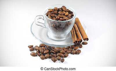 coffee beans in a glass cup