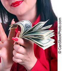a girl counts the money isolated white background