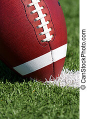 Football close up on Field - American Football Close up on...