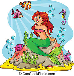 mermaid and friends - mermaid sitting on a rock with fish...