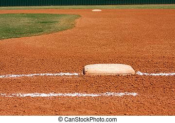 beisball, campo, primero, base, línea