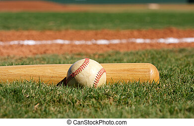 Baseball and Bat - Baseball Bat on the grass with room for...