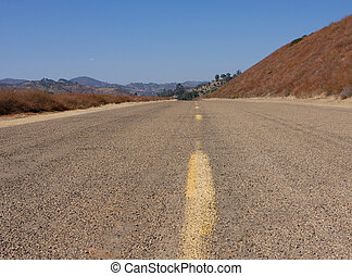 Southern California Highway - Dry Arid road along a Southern...