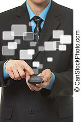 Businessman with Touch screen mobile phone and virtual buttons