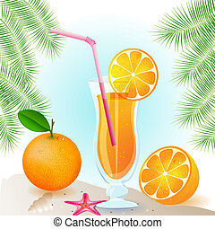 Fresh orange juice with fruits and palm leaves