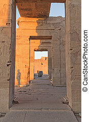 The interior of the Temple of Kom Ombo in sunset light.