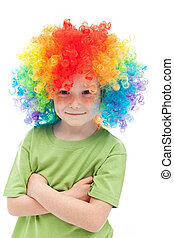 Little clown boy with colorful hair
