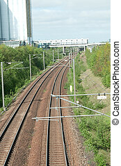 Train tracks - train tracks in Copenhagen, Denmakr