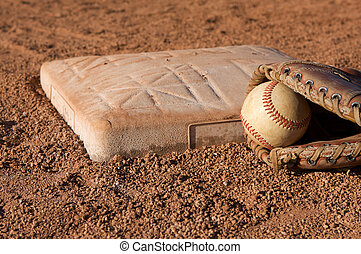 Baseball near Second Base with a glove