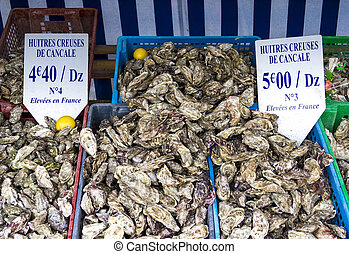 The oyster market in France, Brittany,Cancale - centre for oyster farming