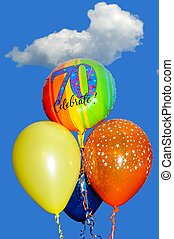 Bunch of balloons against sky. - A bunch of 70th Birthday...