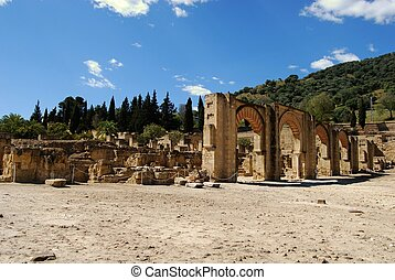 Portico, Medina Azahara, Spain. - View of the ruins of the...