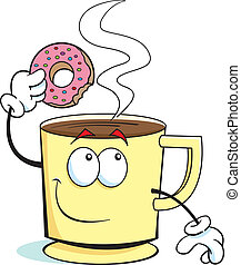 Cup of Coffee - Cup of coffee holding a doughnut