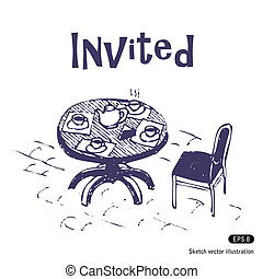 Cafe. Open air. Hand drawn vector illustration